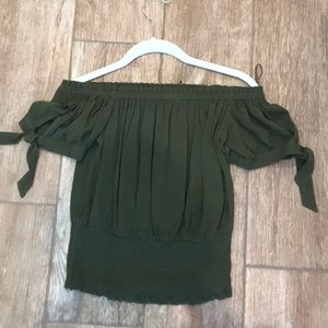Express NWT olive green off the shoulder top